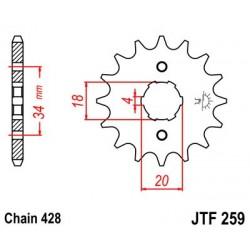 Piñon JT 259 de acero con 15 dientes  DERBI Baja 125 SM (06-08)