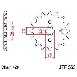 Piñon JT 563 de acero con 15 dientes  YAMAHA DT 80 M (-82)