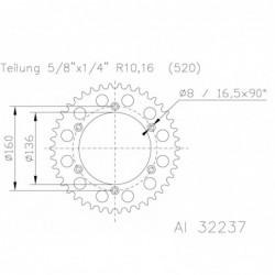 Corona ESJOT Aluminio 51-32237 48 dientes BETA ALP 200 (10-14) ALP 4.0 400 (10-14)