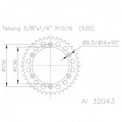 Corona ESJOT Aluminio 51-32043-48 dientes BETA RR 450 (10-12) RR 498 (12) RR 520 (10-12) GAS GAS EC