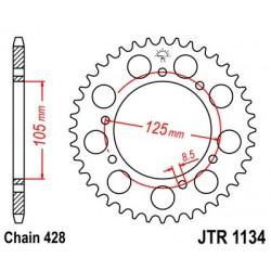 Corona JT 1134 acero 52 dientes DERBI Senda 125 Baja SM (06-08) MOTOR HISPANIA Duna Eunduro 125 (09-