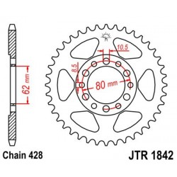 Corona JT 1842 acero 44 dientes YAMAHA YZ 80 (81-82)